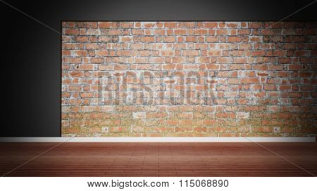 Room interior, empty weathered brick wall and wooden floor