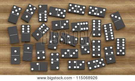 Black domino tiles set, on wooden background