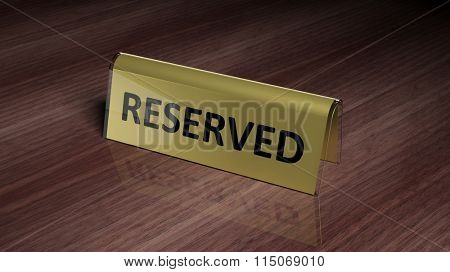 Golden glossy reservation sign on wooden surface with reflection
