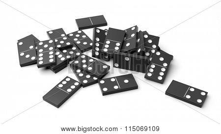 White domino tiles randomly piled, isolated on white