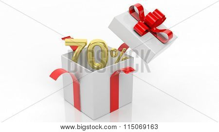 Open gift box with gold 70 percent number in it, isolated on white background.