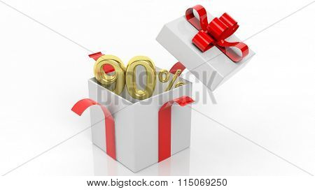 Open gift box with gold 90 percent number in it, isolated on white background.