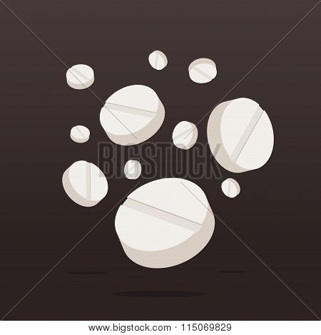 Falling Drugs or Pills Medicine on dark background