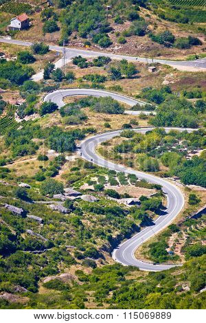 Island Of Vis Curvy Road Vertical View