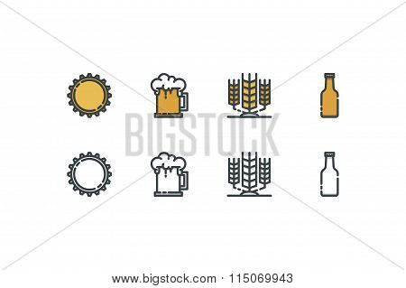 Beer icons. Line art. Stock vector.