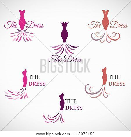 The Woman Dress Logo Vector Set Design
