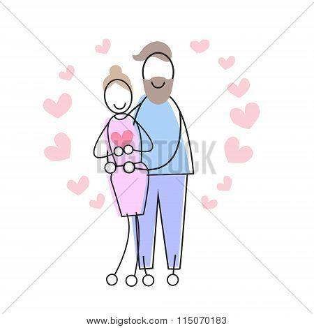 Couple Love Embrace Heart Shape Valentine