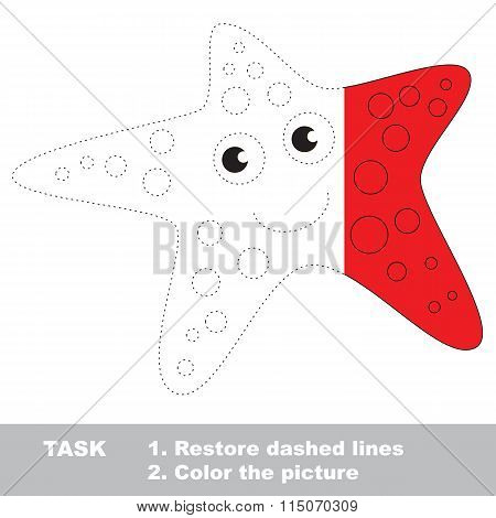 Starfish to be colored. Vector trace game.