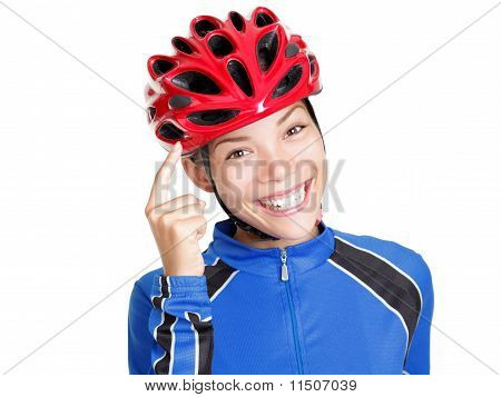 Biking Helmet Woman Isolated