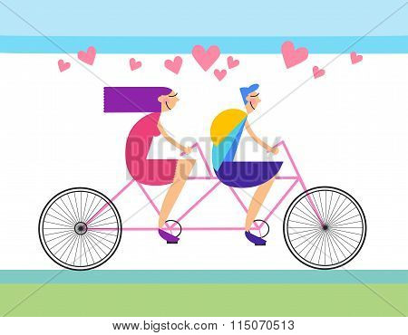 Couple Love Ride Tandem Bicycle Heart Shape
