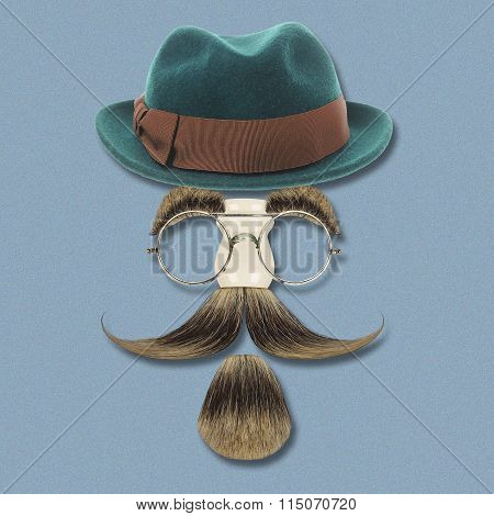 Vintage silhouette of bowler, mustaches and eyesglasses