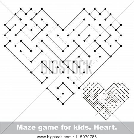 Heart - kid maze game. Search the way.