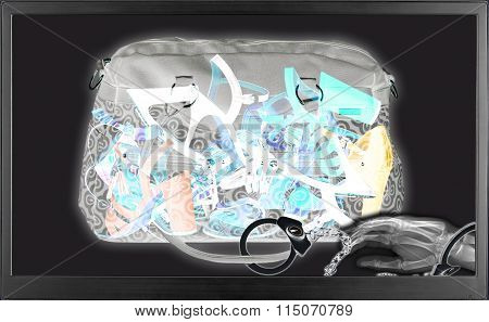 Bag full of women shoes seen by x-ray