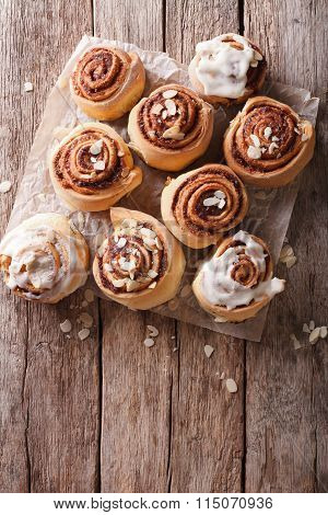 Cinnamon Rolls On The Table. Vertical Top View