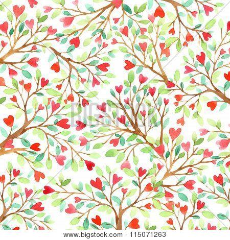 Love tree watercolor. Love background. Red heart. Wedding invitation design. Valentine day backgroun