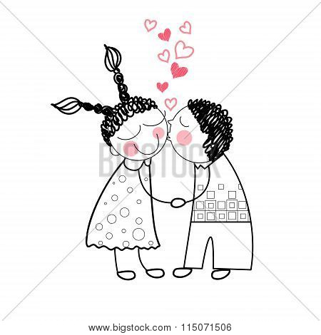 Couple Kiss Red Heart Shape Love Holding Hands Drawing