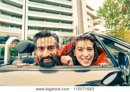 Handsome Hipster Boyfriend Having Fun With Girlfriend - Happy Couple Having A Rest At Car Trip