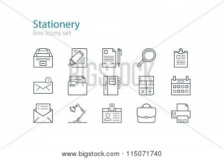Office stationery  icons. Black and grey. Line art. Stock vector.