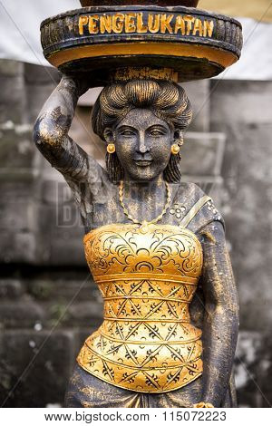 Stone statue Hindu goddess in Hindu temple