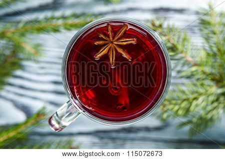 Homemade mulled wine with star anise and cinnamon