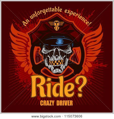 Crazy driver - skull and taxi. Vector print for t-shirt