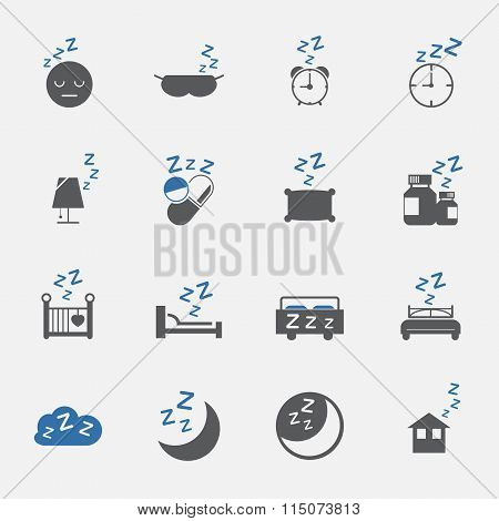 Two Tone Sleep And Lifestyle Icons Set.vector . Illustration
