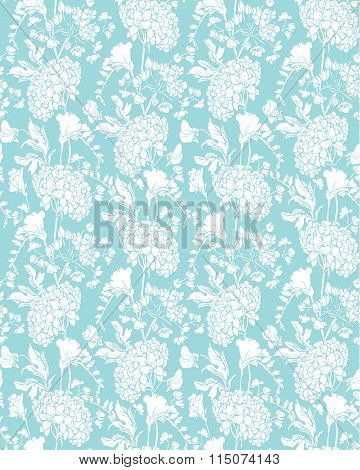 Seamless Pattern With Realistic Graphic Flowers - Sweet Pea And Gardenia - Hand Drawn Background In