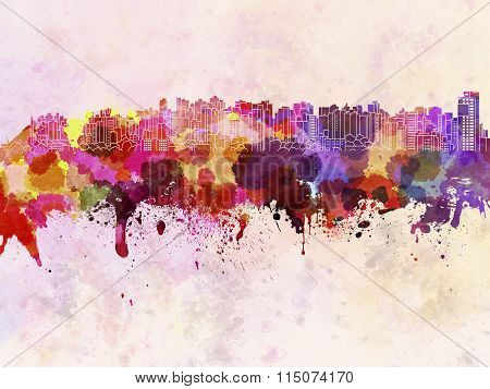 Curitiba Skyline In Watercolor Background