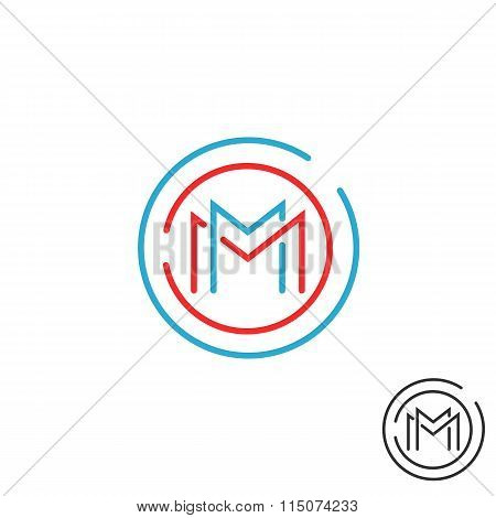 Letter M Logo Circle Frame Monogram, Mockup Line Round Border Design Element, Red And Blue Graphic T