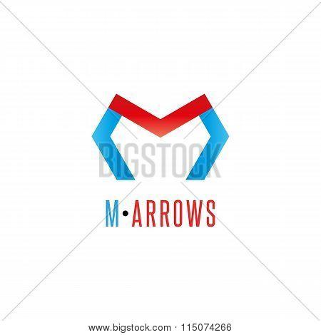 Letter M Logo Arrows Red And Blue Color, Direction Development Business Symbol, Mockup Graphic Shape