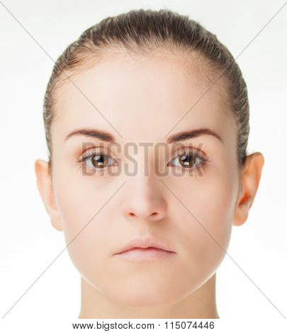 Isolated Young Natural Woman Face