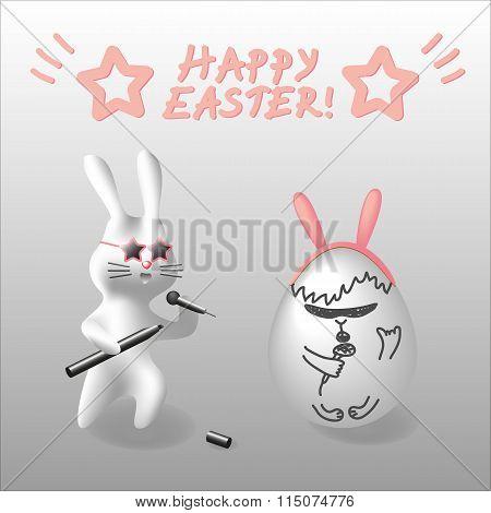 Vector EPS10 Easter illustration rabbit character near egg painted like other rabbit