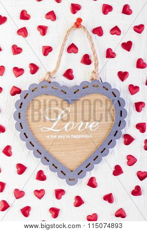Love Heart On Wooden Texture Background