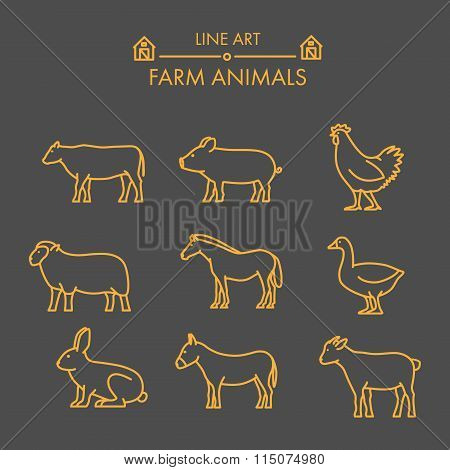 Vector Line Farm Animals Icon Set.
