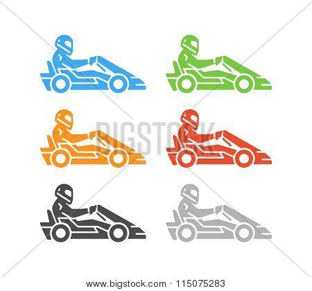 Vector Flat Karting Logo And Symbol.