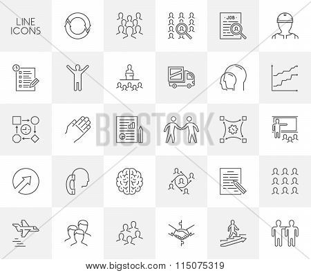 Vector Thin Line Icon Set For Business And Web.