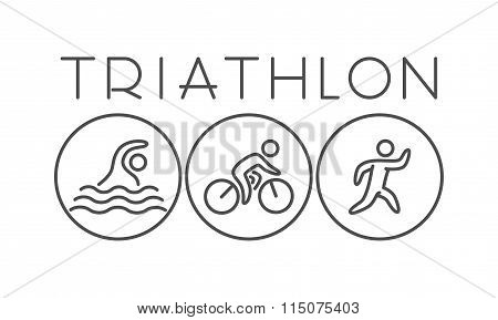 Vector Line And Flat Triathlon Logo And Symbol.