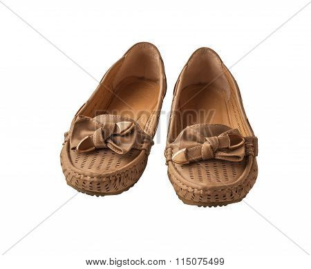 Pair Of Women Beige Moccasins  Isolated