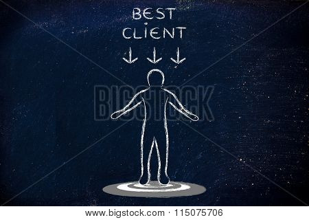 Consumer Standing On Target With Best Client Sign Above