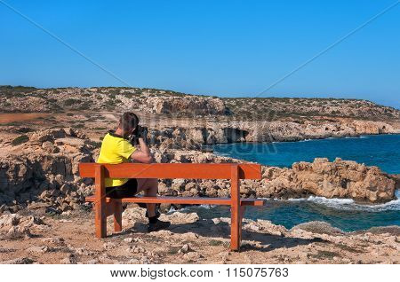 Man On Bench Pictures Of The Mediterranean Sea.