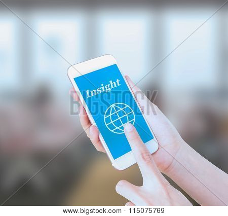 Mobile touch screen phone with text Insight on the screen