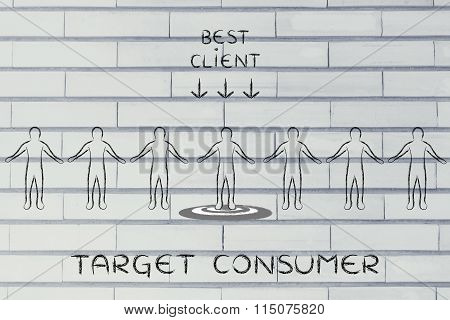Person In A Crowd With Sign Best Client & Text Target Consumer