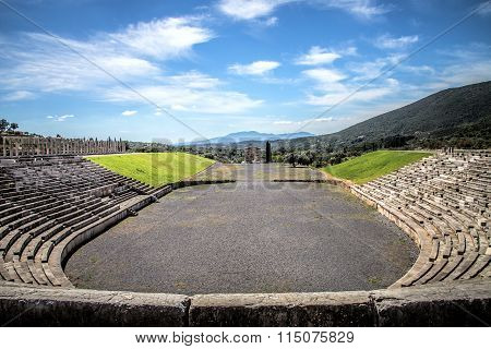 stadium in the city of Ancient Messina, Peloponnes, Greece, hdr