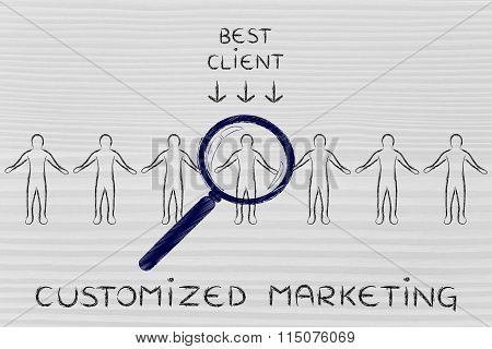 Person In A Crowd With Magnifying Glass & Text Customized Marketing