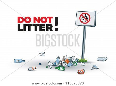 No Littering Sign And Waste