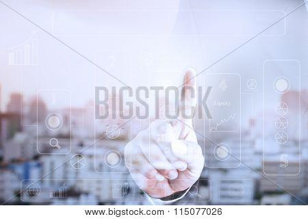 Businessman hand touch screen graph.