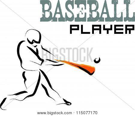 Vector hand drawn baseball athlete.