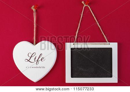 Love Heart And Empty Blackboard On Red