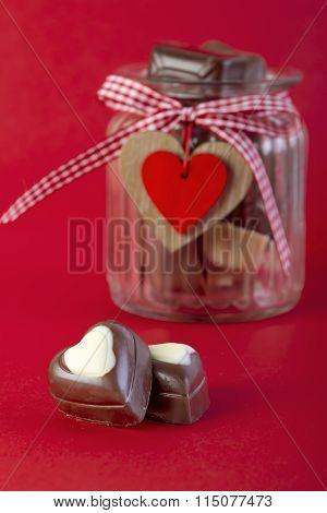 Chocolate In Jar. Valentines Day Concept