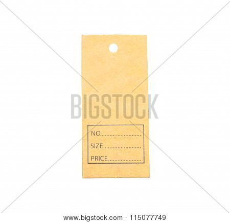 Brown price tag on a white background